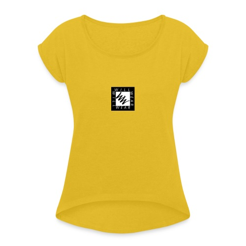 Phone logo - Women's Roll Cuff T-Shirt