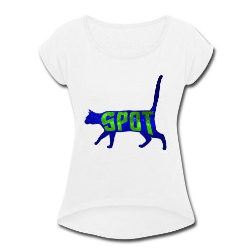 Data's Cat Spot (Blue and Green) - Women's Roll Cuff T-Shirt