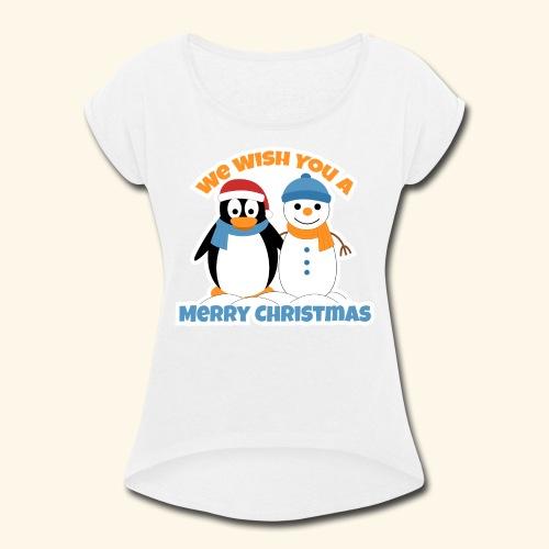santa penguin with snowman christmas - Women's Roll Cuff T-Shirt