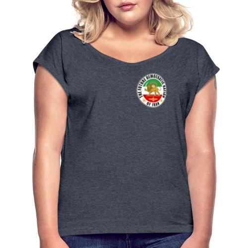 Iran Emblem Old Flag With Lion - Women's Roll Cuff T-Shirt