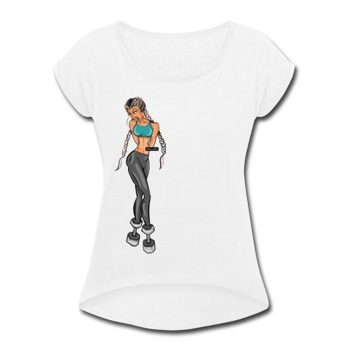 WHOISMNO ـ gymaholic girl - Women's Roll Cuff T-Shirt