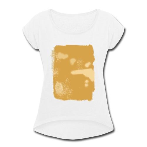 Blue Yellow Stripes Abstract T-Shirt - Women's Roll Cuff T-Shirt