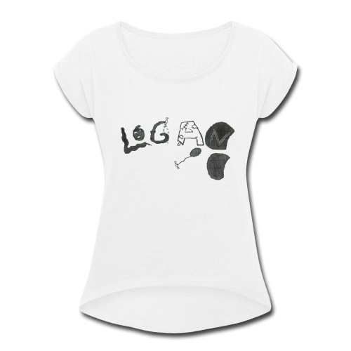 Hand Drawn Halloween Themed Logo - Women's Roll Cuff T-Shirt