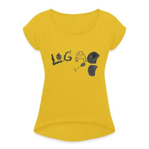 Hand Drawn Halloween Themed Logo - Women's Roll Cuff T-Shirt