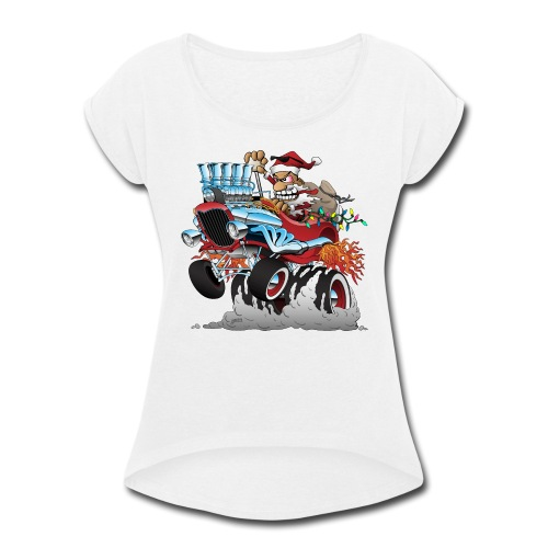 Hot Rod Santa Christmas Cartoon - Women's Roll Cuff T-Shirt