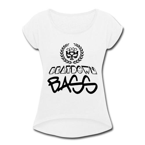 BEATDOWN BLACK LOGO - Women's Roll Cuff T-Shirt