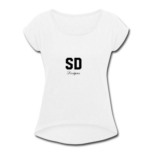SD Designs blue, white, red/black merch - Women's Roll Cuff T-Shirt