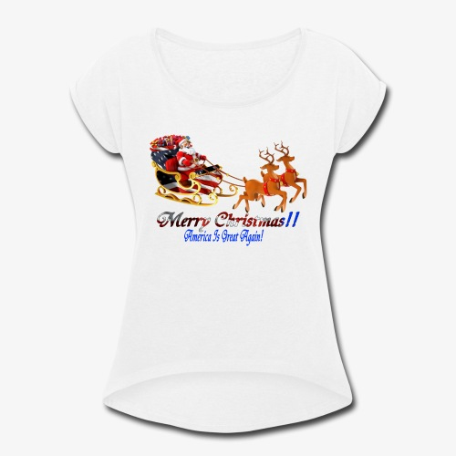 Merry Christmas-America - Women's Roll Cuff T-Shirt