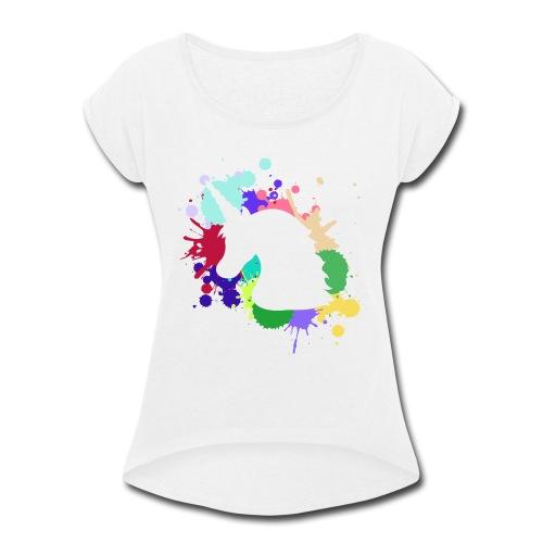 Unicorn Design - Women's Roll Cuff T-Shirt