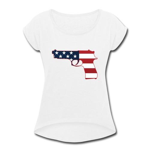 Semi-automatic Stars & Stripes Handgun Silhouette - Women's Roll Cuff T-Shirt