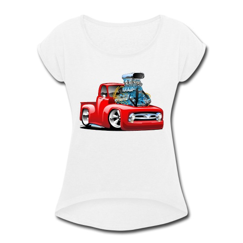 American Classic Hot Rod Pickup Truck Cartoon - Women's Roll Cuff T-Shirt