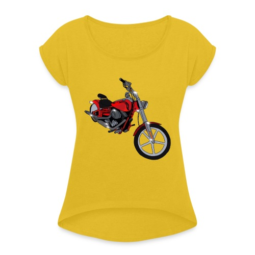 Motorcycle red - Women's Roll Cuff T-Shirt