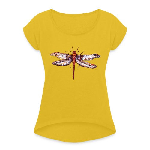 Dragonfly red - Women's Roll Cuff T-Shirt
