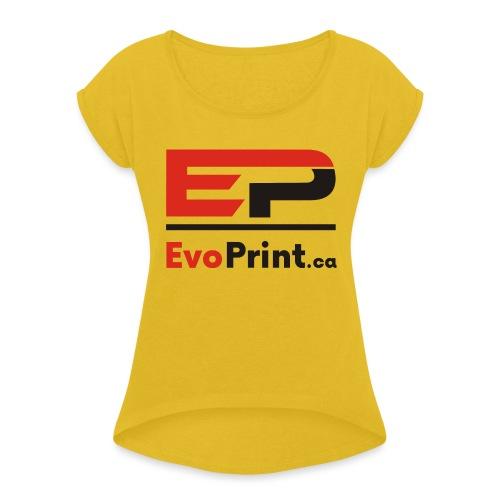 Evo_Print-ca_PNG - Women's Roll Cuff T-Shirt