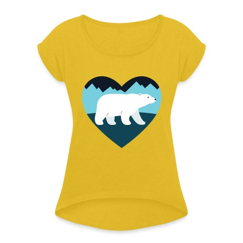 Polar Bear Love - Women's Roll Cuff T-Shirt