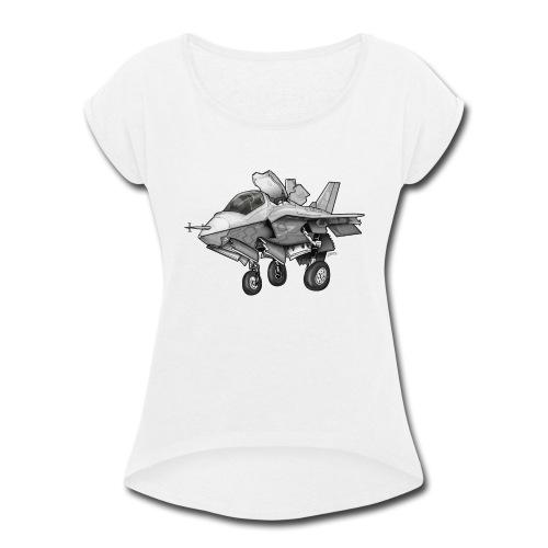 F-35B Lighting II Joint Strike Fighter Cartoon - Women's Roll Cuff T-Shirt