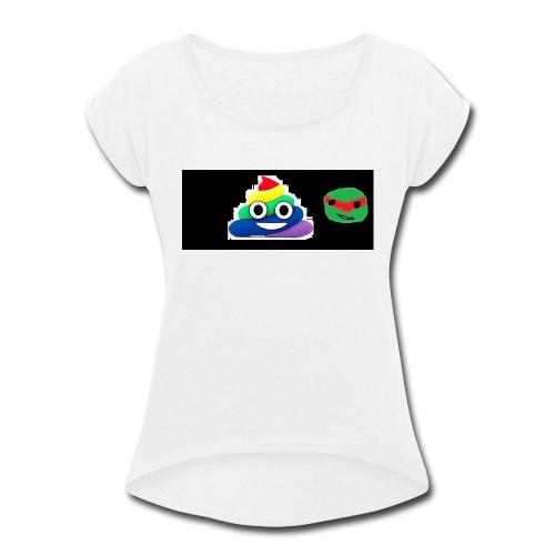 ninja poop - Women's Roll Cuff T-Shirt
