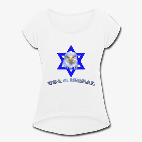 USA & ISREAL - Women's Roll Cuff T-Shirt