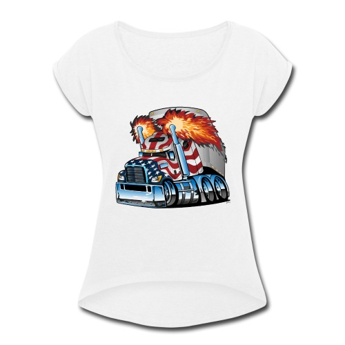 Patriotic American Flag Semi Truck Tractor Trailer - Women's Roll Cuff T-Shirt