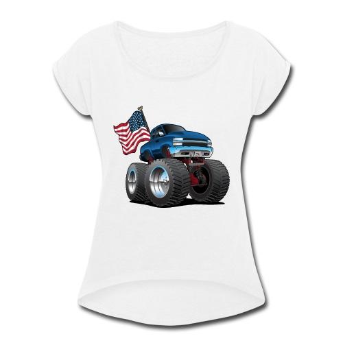 Monster Pickup Truck with USA Flag Cartoon - Women's Roll Cuff T-Shirt