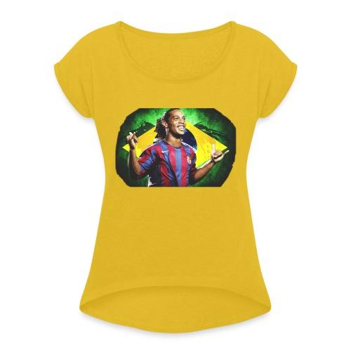 Ronaldinho Brazil/Barca print - Women's Roll Cuff T-Shirt