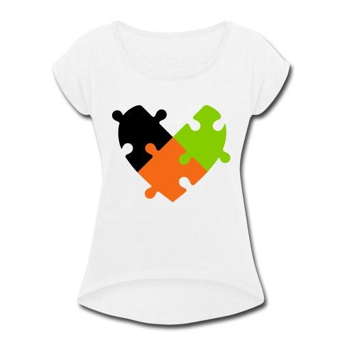 Heart Puzzle - Women's Roll Cuff T-Shirt