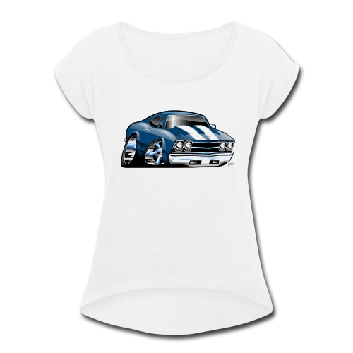 69 Muscle Car Cartoon - Women's Roll Cuff T-Shirt