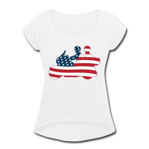 usa biker couple clr Tsmall - Women's Roll Cuff T-Shirt