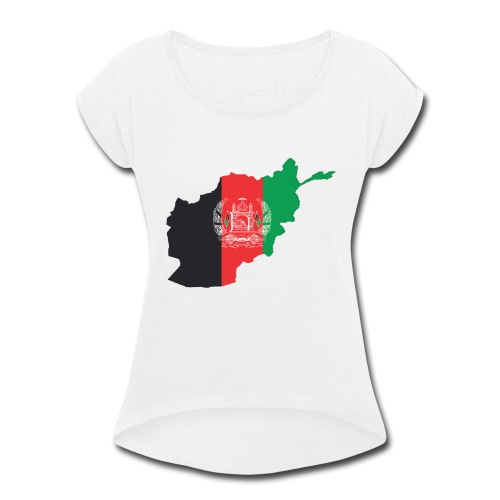 Afghanistan Flag in its Map Shape - Women's Roll Cuff T-Shirt