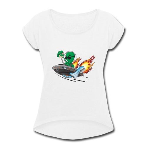 UFO Alien Hot Rod Cartoon Illustration - Women's Roll Cuff T-Shirt
