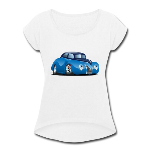 Classic 39 Street Rod Coupe Custom Car Cartoon - Women's Roll Cuff T-Shirt