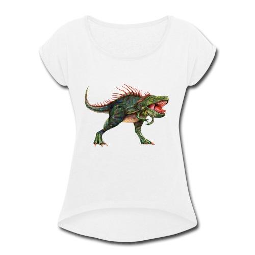 Dinosaur - Women's Roll Cuff T-Shirt
