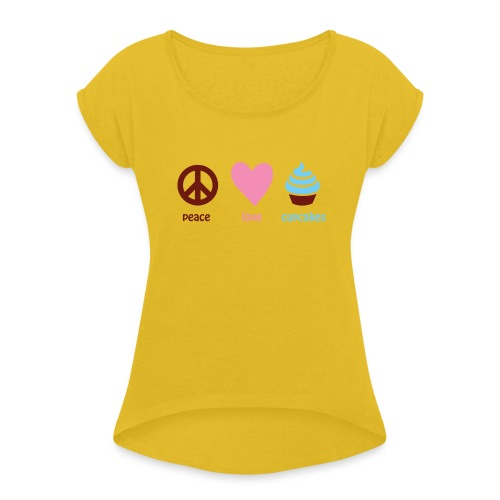 peacelovecupcakes pixel - Women's Roll Cuff T-Shirt