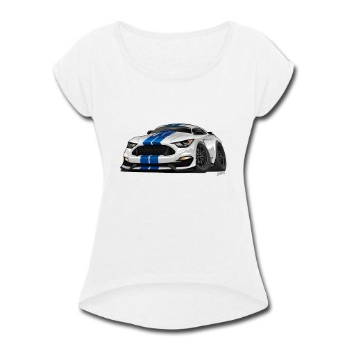 Modern American Muscle Car Cartoon - Women's Roll Cuff T-Shirt