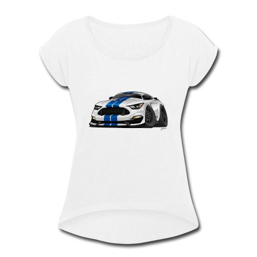 Modern American Muscle Car Cartoon - Women's Roll Cuff T-Shirt