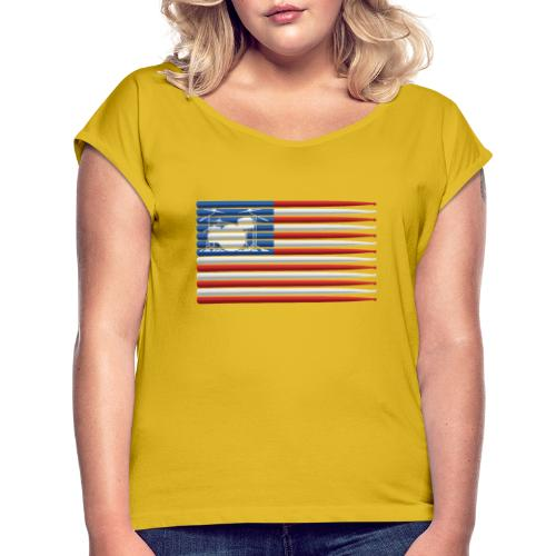 American Drummer Flag with Drum Kit and Sticks - Women's Roll Cuff T-Shirt