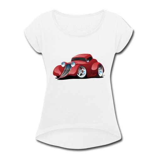 Red Hot Rod Restomod Custom Coupe Cartoon - Women's Roll Cuff T-Shirt