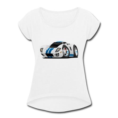 American Supercar Cartoon - Women's Roll Cuff T-Shirt