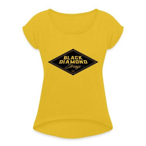 Black-Diamond-transparent - Women's Roll Cuff T-Shirt