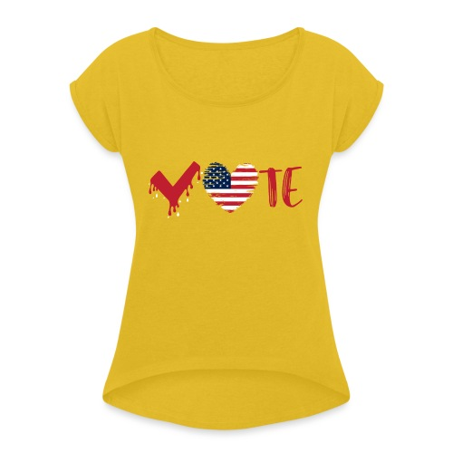 vote heart red - Women's Roll Cuff T-Shirt