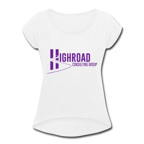 Highroad Logo Overlay Purple - Women's Roll Cuff T-Shirt