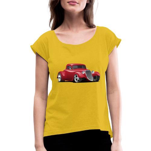 Custom American Red Hot Rod Car - Women's Roll Cuff T-Shirt
