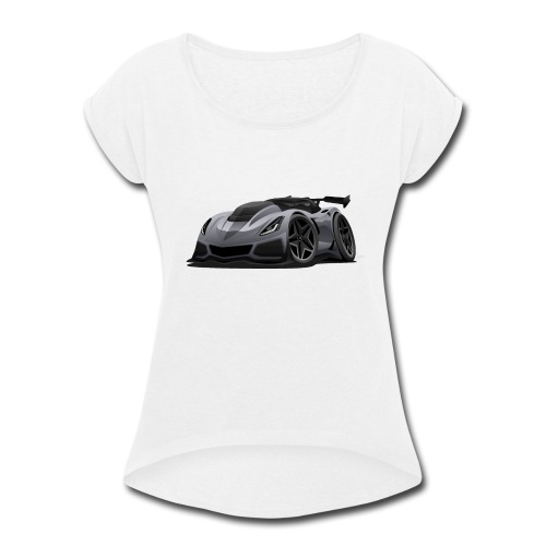 Modern American Sports Car Cartoon - Women's Roll Cuff T-Shirt
