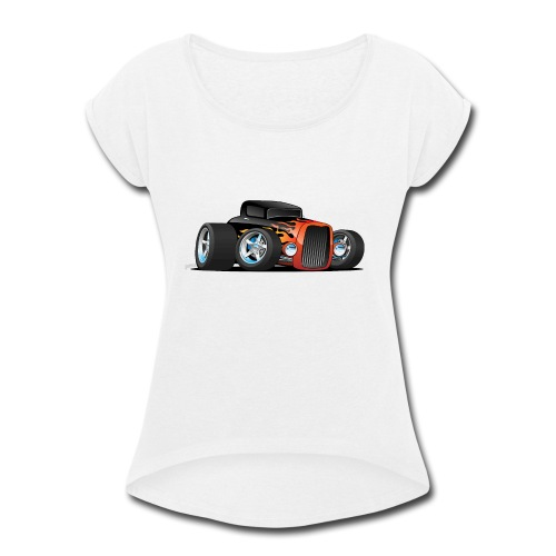 Hot Rod Classic Coupe Custom Car Cartoon - Women's Roll Cuff T-Shirt