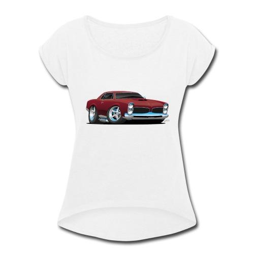 Classic American Muscle Car Cartoon - Women's Roll Cuff T-Shirt