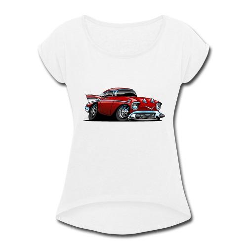 Classic American 57 Hot Rod Cartoon - Women's Roll Cuff T-Shirt