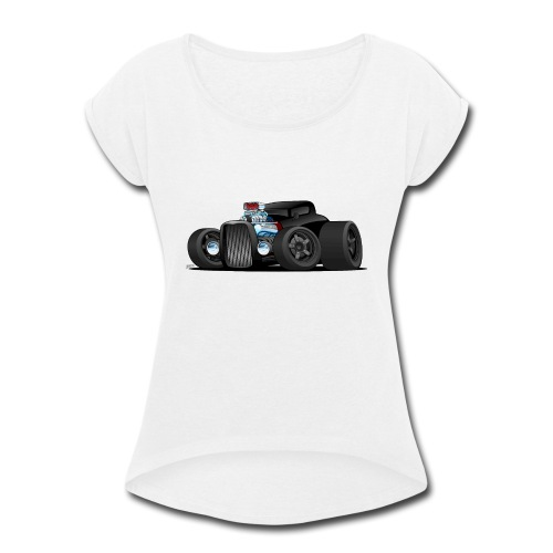 Custom Black Hot Rod Coupe - Women's Roll Cuff T-Shirt