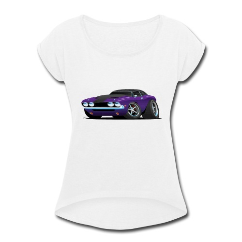 Classic Muscle Car Cartoon - Women's Roll Cuff T-Shirt
