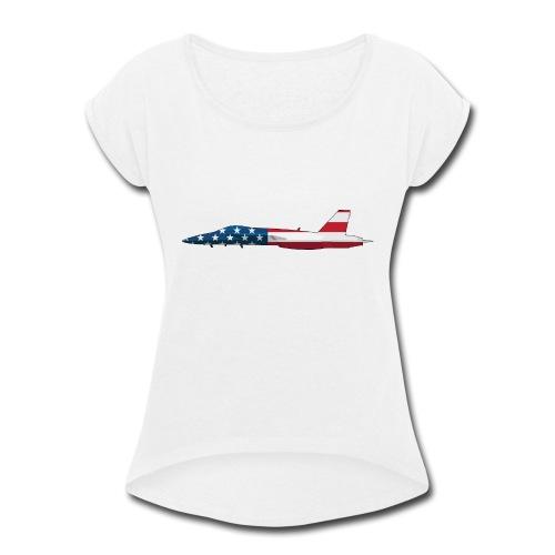 American Flag Military Jet - Women's Roll Cuff T-Shirt