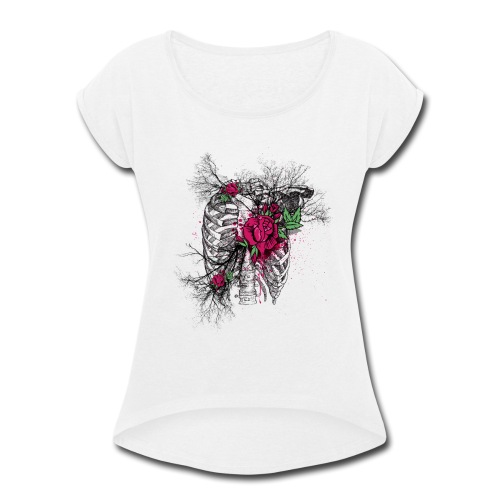 Skeleton Rose - Women's Roll Cuff T-Shirt